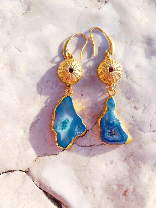 "Blue Agate, Druzy  Earrings ""Myrtos"""