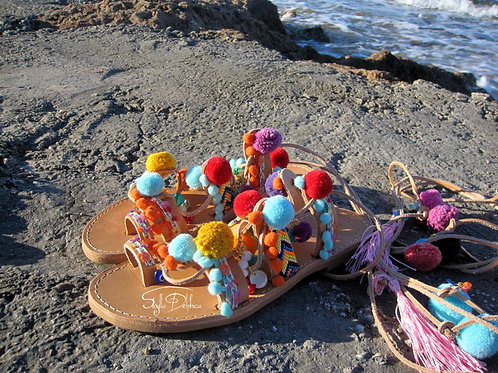 "Pompom ethnic sandals/Tie Up Gladiator ""Kalea"""