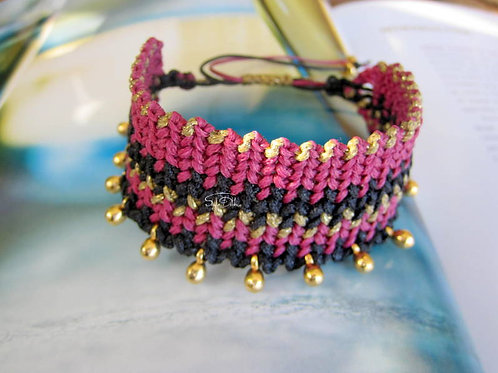 "Macrame Woven Fuchsia bracelet - ""Chloe"""