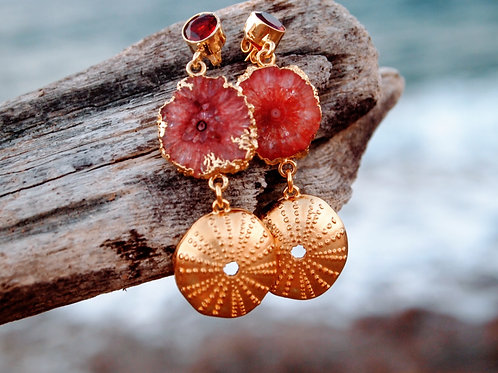 "Orange Agate slices & red Garnet Earrings ""Mango Passion"""