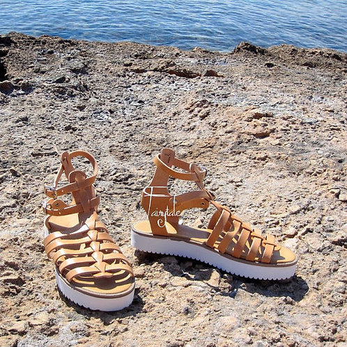 """Wedges - Natural Color Greek Leather sandals - """"Apollonia"""""""
