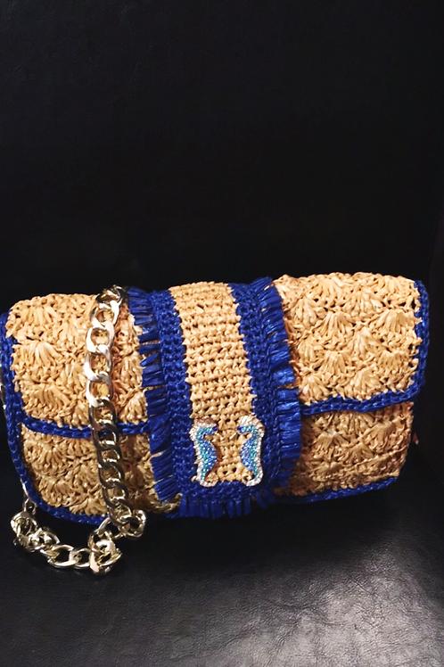 """Raffia Shoulder Bag, Sand-Beige """"Seahorse"""""""