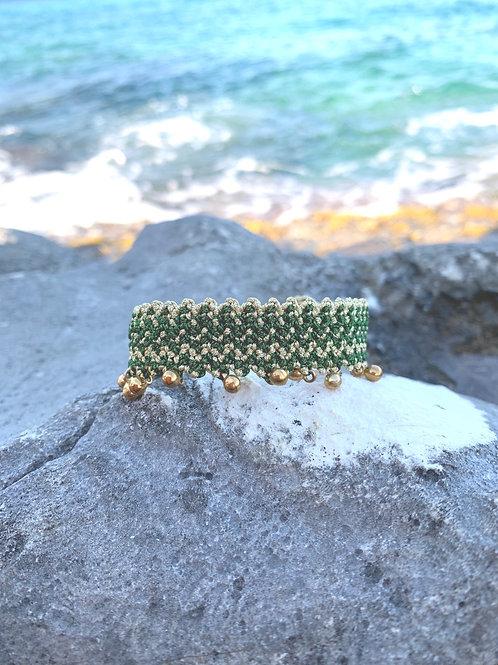 Macrame Woven Green- Gold bracelet - CALISTO
