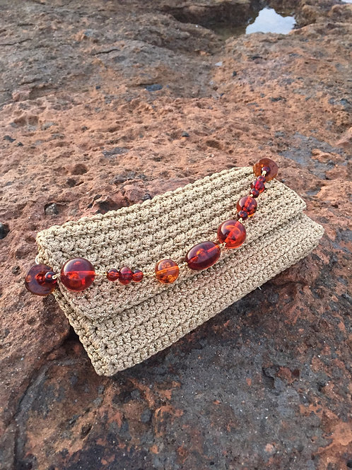 "Gold Hand woven bag Handmade beaded Handle -""Kallos"""
