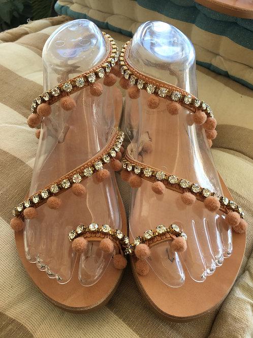 """Greek Leather sandals with Precioza crystals """"Matilda"""""""