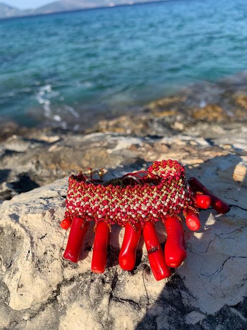 "Macrame Woven bracelet -""Coral Cove"""
