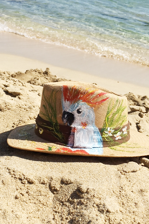 """Hand painted Panama Hat """"White parrot"""""""