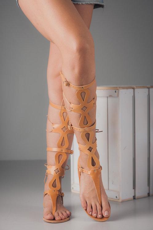 Gladiator lace up sandals - greek leather - AGNES