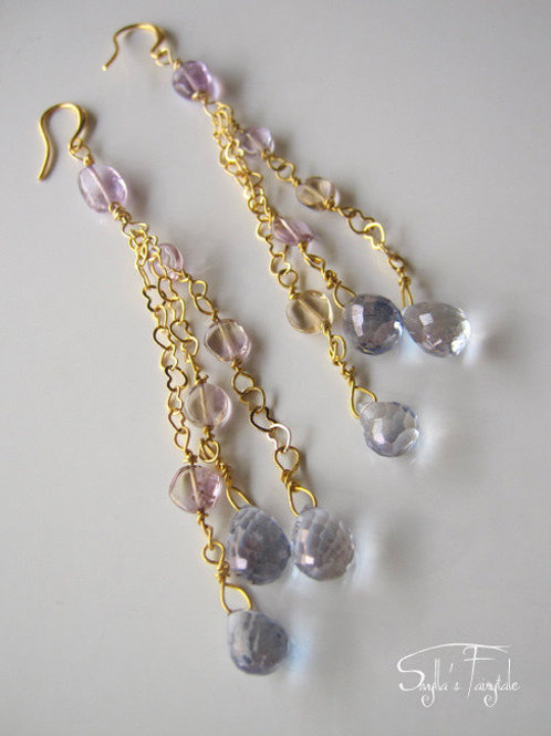 "Topaz & Amethyst Earrings - ""Taj Mahal"""