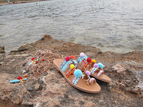 "Pompom ethnic sandals/Tie Up Gladiator ""Andraya"""