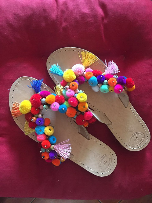 "Pom Pom Sandals - Greek Leather - ""Maris"""