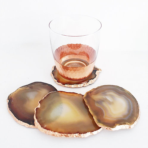 Honey Brown  Agate Coasters - Set of 4 - Gold edged