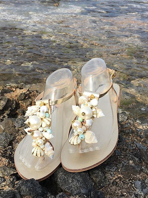 "Leather Sandals with shells - ""OCEANIDES"""