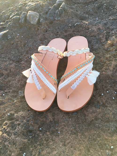 "Jeweled leather sandals  ""ALKMINI ΙΙ"""