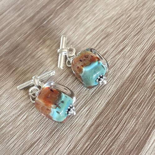 "Murano glass Cufflinks in Turquoise & honey brown - OOAK - ""APOLLO"""