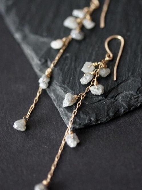 "Rough Grey Diamonds Earrings- 14kt Gold Chain  -""Adamas"""