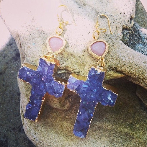 Rough Amethyst Cross Gold Plated