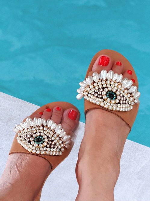 """Leather Sandals with evil eye decoration """"Eyes"""""""