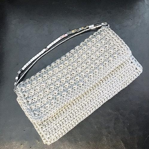 "Silver Hand woven clutch with Hematite handle  ""Kallos II"""