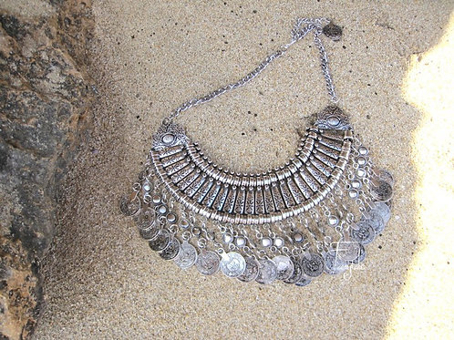 Boho tribal silver necklace with coins - Mala