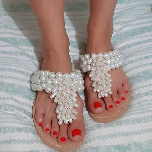 "Jeweled leather sandals full of  pearls ""OLYMPIA"""