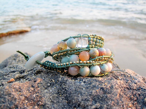 Triple Wrap Amazonite  Bracelet  - Sea & Sand
