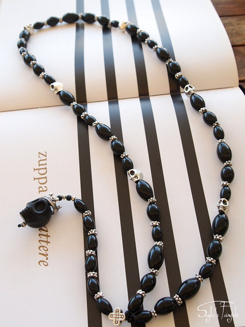 Black Onyx and Silver Skulls - Aries