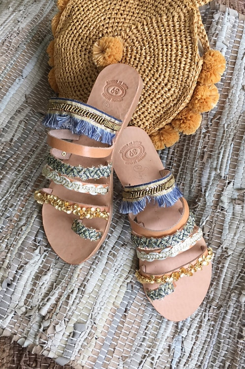 "Jeweled leather sandals  ""SELINI"""