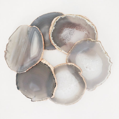 Grey Agate Coasters - Set of 4 - Gold edged