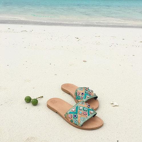 "Jeweled leather sandals ""Estella"""