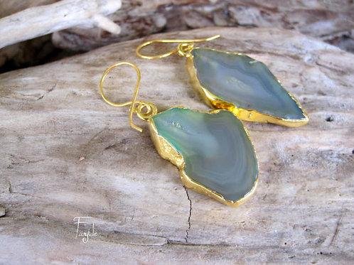Bazilian Agate Drusy earrings -OOAK
