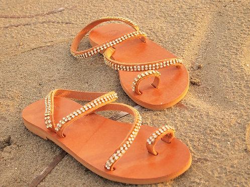 Greek Leather sandals with Swarovski crystals HERA
