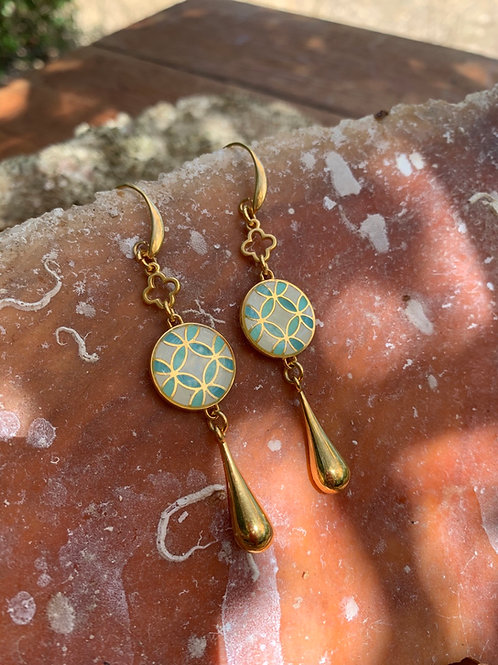 "Enameled Gold plated earrings ""Dido"""