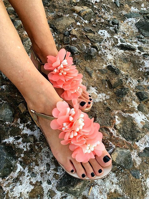 "Jeweled leather sandals with flowers & pearls ""POULIA"""