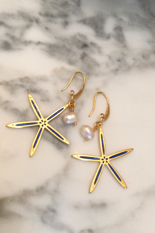 Starfish Enameled Gold plated earrings