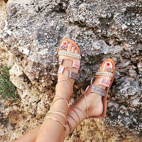 Gladiator Bohemian Style lace up sandals Marrakesh