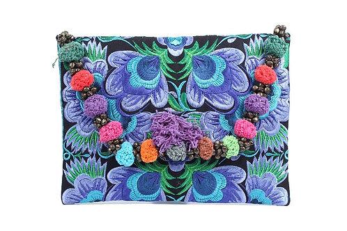 "Brocade embroidered Thai clutch bag/purse - ""Lotus"""