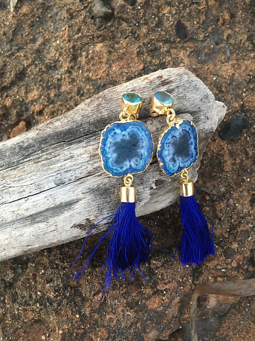 "Blue Agate slices on Blue Topaz ear studs ""MILOS"""