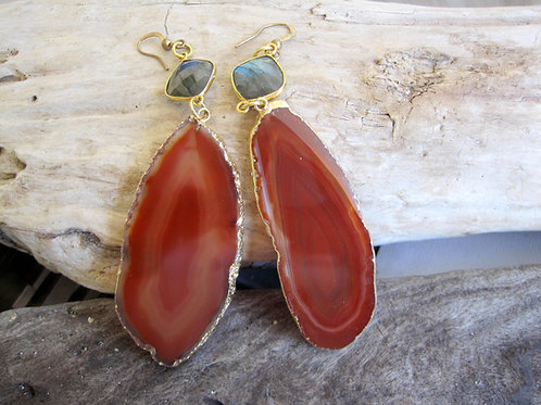 Orange Bazilian Agate, Labradorite Earrings - Summer Sunset