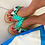 "Thumbnail: Leather sandals with pompoms and evil eyes - ""Mati"""