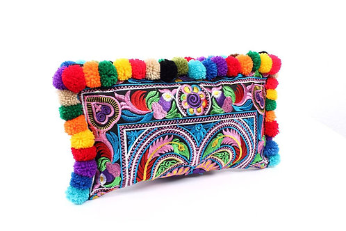Brocade embroidered Thai clutch bag with pom poms