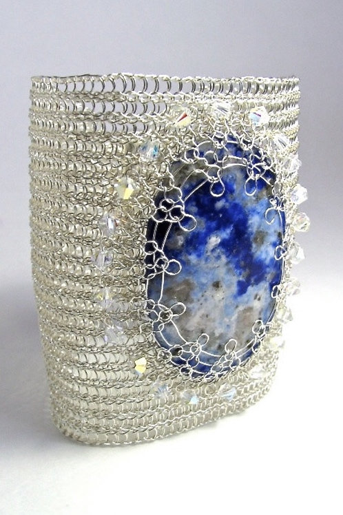 Lapis Lazuli Wide cuff bracelet wire crocheted - Blue Sky