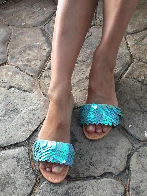 "Sequins leather sandals ""Mermaid's Slippers"""""