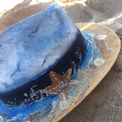 Hand Painted Panama Hat - Starfish