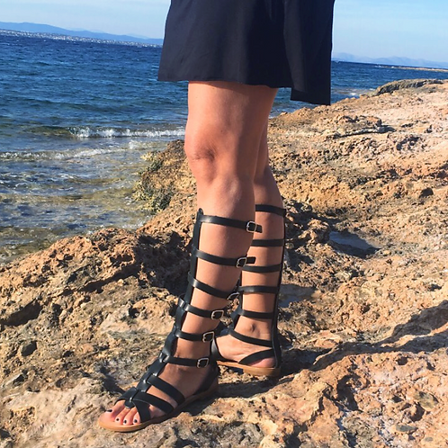"Gladiator style High Greek Leather sandals ""HERO"""