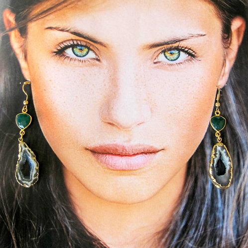 Brazilian Agate & Emerald  Drusy earrings -OOAK