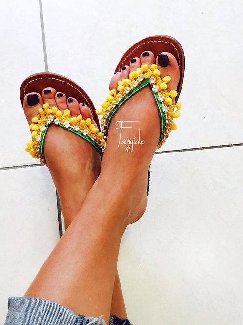 "Pom poms Greek Leather sandals - ""Dolce Vita"""