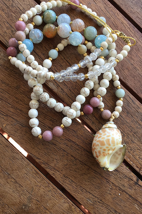 "Agate beaded long necklace ""Greek Summer"""