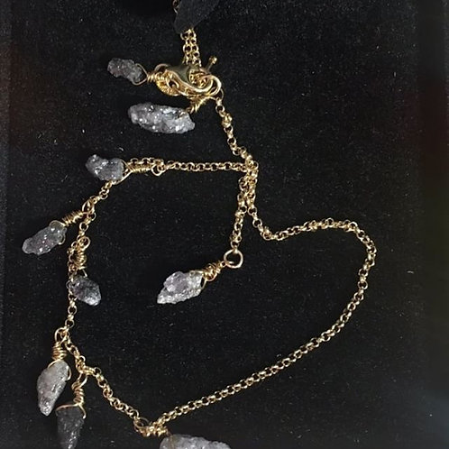 "Rough Black and Grey Diamond Necklace -""Adamas"""