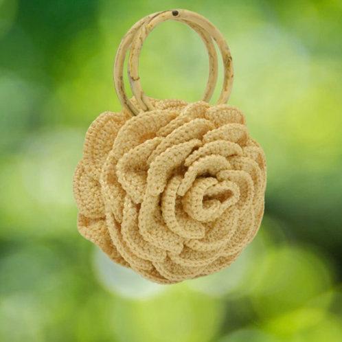 "Handwoven flower Tote, ""Rose Garden"""
